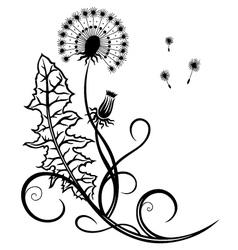 Dandelion tendril flowers vector