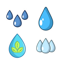 drops icon set cartoon style vector image