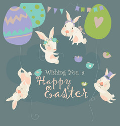 easter bunnies and easter eggs happy holidays vector image