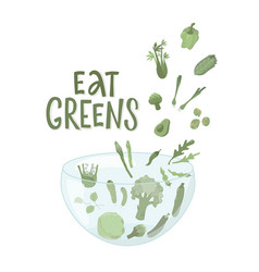 Eat greens sign with green vegetables boho colors vector