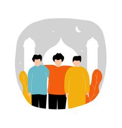 Eid mubarak with three young men standing front vector