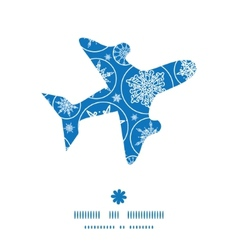 Falling snowflakes airplane silhouette pattern vector