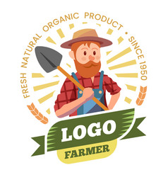 farmer farm products and organic food label vector image