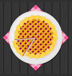 Flat warm apple pie vector