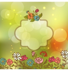 Flower Invitation Card Floral Frame with Ribbon vector