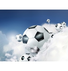 football in clouds vector image