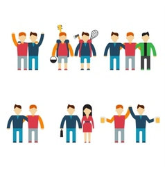 Friends and friendly relationship flat line icons vector image