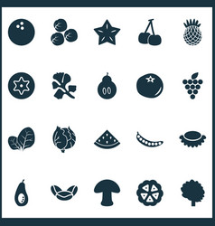 fruit icons set with peas melon cocoa beans and vector image