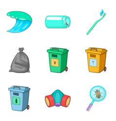 Garbage type icon set cartoon style vector