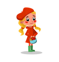 girl walking outdoors wearing rubber boots and vector image