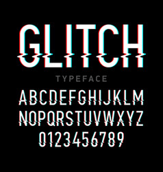 Glitch distortion typeface vector