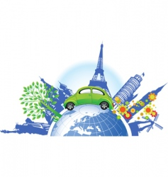 global green car vector image