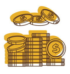 golden dollars in pile cash money usa vector image