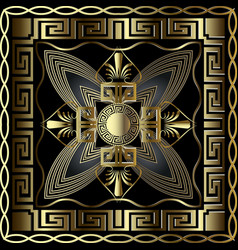greek 3d gold seamless pattern with square vector image
