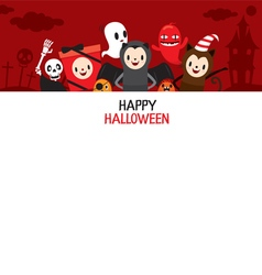 Halloween Cartoon Character On Frame Banner vector image
