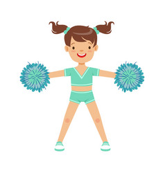 Happy little girl dancing with blue pompoms vector