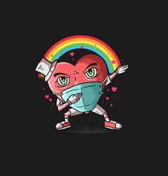 Heart icon dabbing dance vector