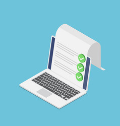 Isometric laptop with document and check mark vector