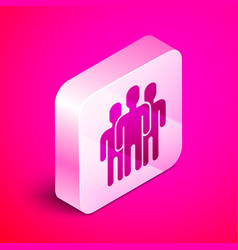 Isometric users group icon isolated on pink vector