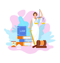Justice statue holding scales flat vector