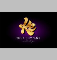 Kc k c 3d gold golden alphabet letter metal logo vector