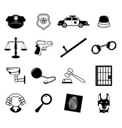 Law enforcement icons vector
