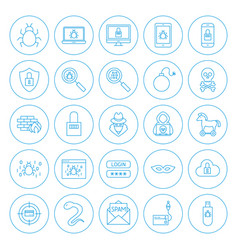Line circle hacker icons vector