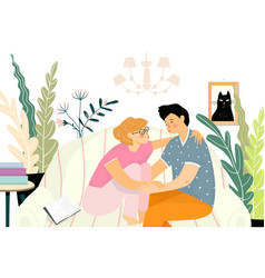 lovers first kiss at home on sofa teenagers vector image