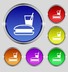 Lunch box icon sign Round symbol on bright vector