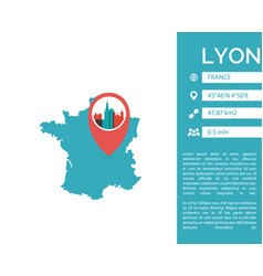 lyon map infographic isolated vector image