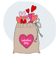 many bright hearts that fall out of the bag heart vector image