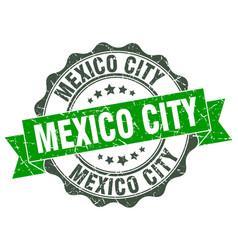 Mexico city round ribbon seal vector