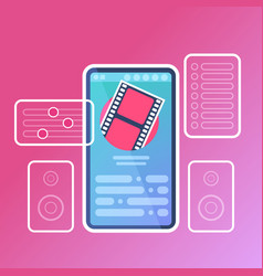 mobile video player application interface digital vector image