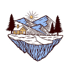 Mountain and house vector