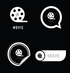 movie icon in black and white vector image
