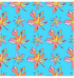 Multicolored maple leaves on a blue vector