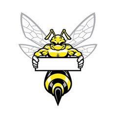 muscular wasp hornet holding banner vector image