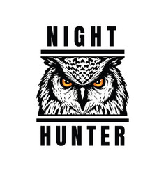 night hunter owl head t-shirt print design vector image