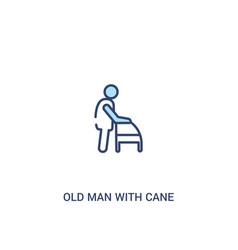 Old man with cane concept 2 colored icon simple vector