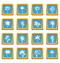 palm tree icons azure vector image