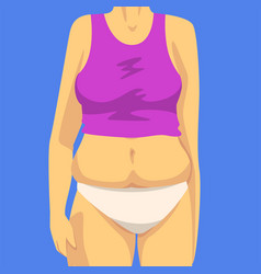 Part female body with fat belly human figure vector