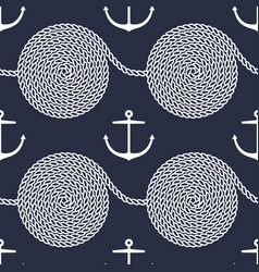 pattern with rope spirals and anchors vector image