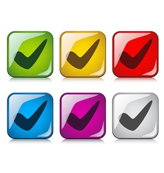 positive checkmark buttons vector image