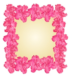 Purple rhododendron frame greeting card vector