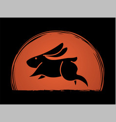 Rabbit jumping graphic vector