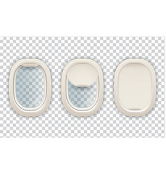 realistic airplane porthole aviation and tourism vector image