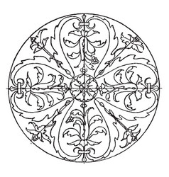 Renaissance circular panel is a bas-relief design vector