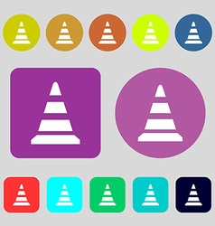 Road cone icon 12 colored buttons Flat design vector