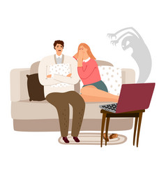 scared man and woman watching horror movie vector image
