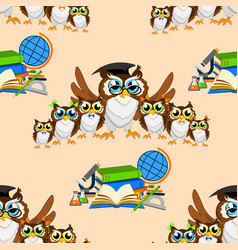 school seamless pattern with funny owls vector image